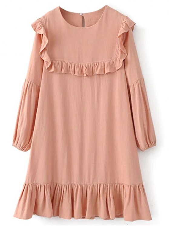hot Ruffle Puff Long Sleeve A Line Dress - PINKBEIGE S