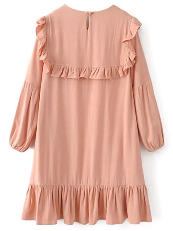 Ruffle Puff Long Sleeve A Line Dress - PINKBEIGE L Mobile