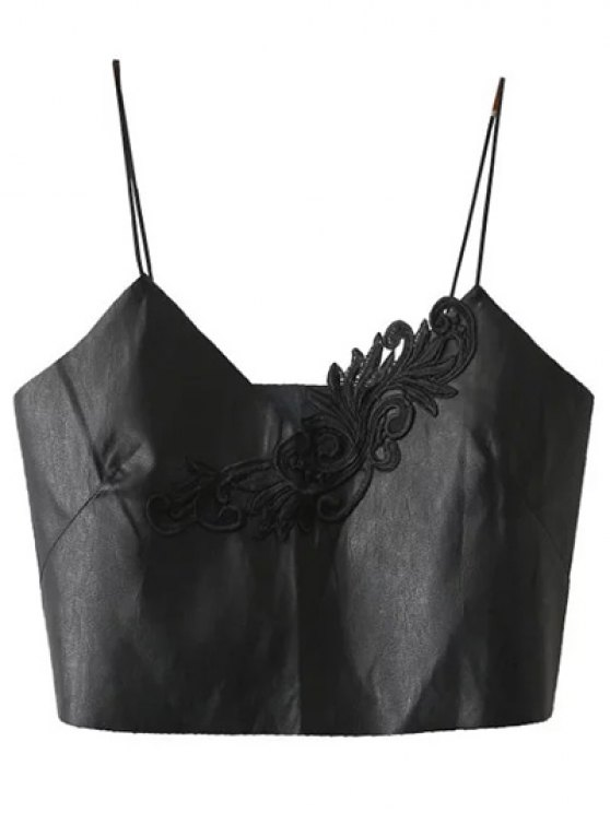 Faux Leather Spaghetti Strap Cropped Top - BLACK M Mobile