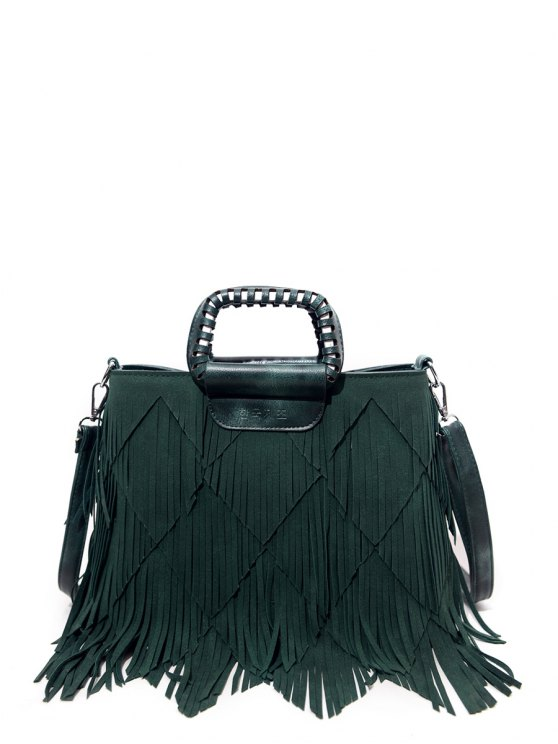 Faux Leather Multi Fringe Handbag - GREEN  Mobile