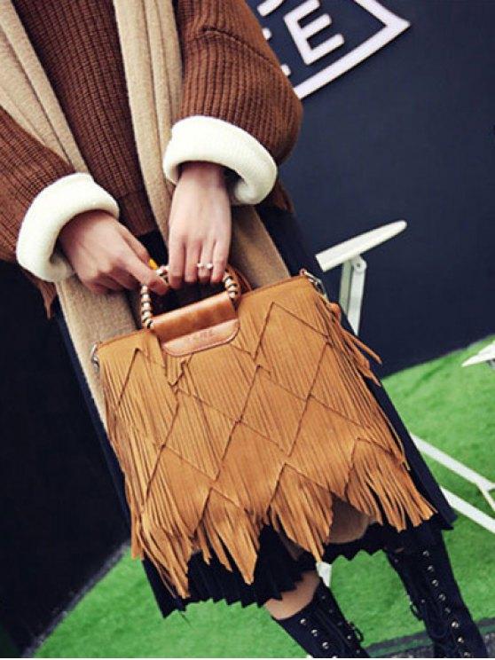 Faux Leather Multi Fringe Handbag - BROWN  Mobile