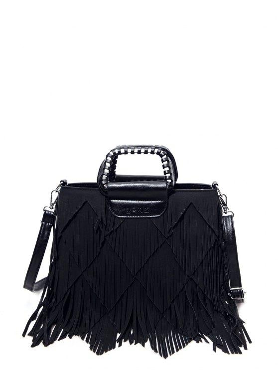 Faux Leather Multi Fringe Handbag - BLACK  Mobile