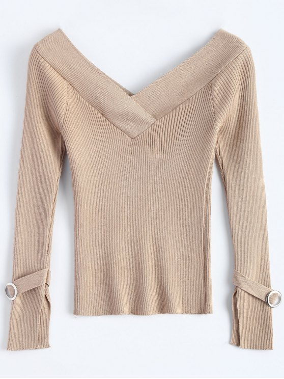 Bare Shoulder V Neck Rib Sweater - KHAKI ONE SIZE Mobile