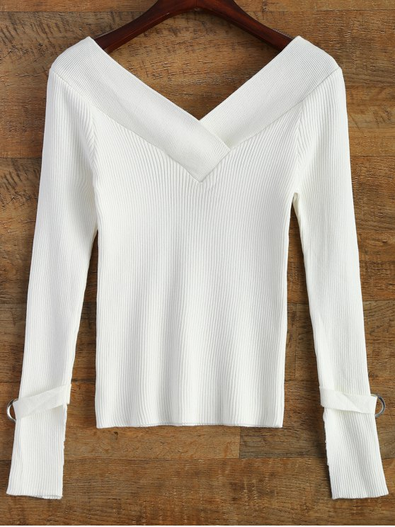 Bare Shoulder V Neck Rib Sweater - WHITE ONE SIZE Mobile