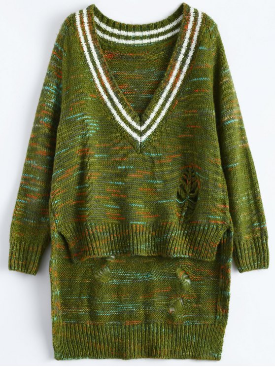 High Low Ripped Heather Sweater - GREEN ONE SIZE Mobile