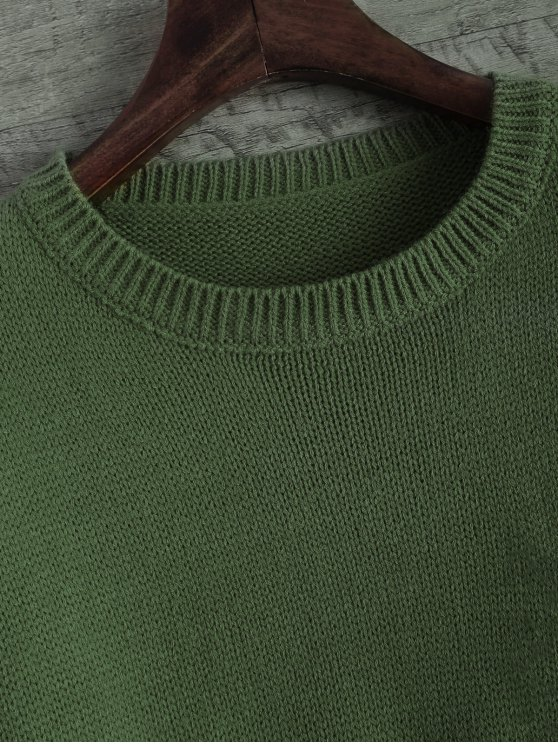 Distressed Patch Pocket Sweater - GREEN ONE SIZE Mobile