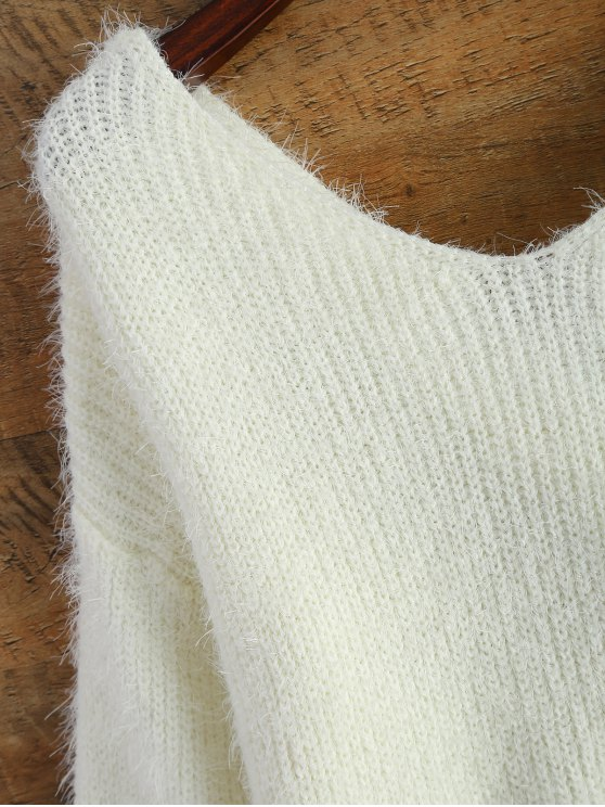 Fluffy Twisted Chenille Sweater - WHITE ONE SIZE Mobile