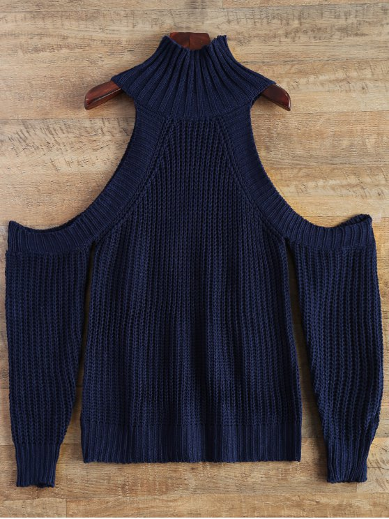 Cutout Open Shoulder Funnel Sweater - PURPLISH BLUE ONE SIZE Mobile