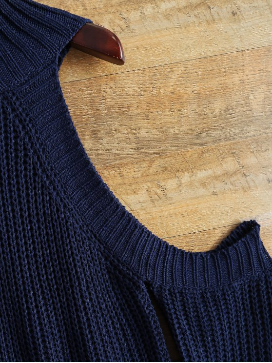 Cutout Open Shoulder Funnel Sweater - PURPLISH BLUE ONE SIZE Mobile