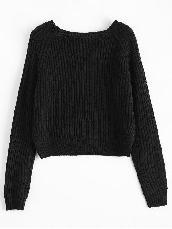 Raglan Sleeve Boxy Basic Sweater - BLACK ONE SIZE Mobile