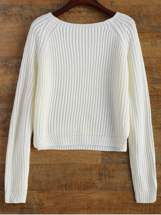 Raglan Sleeve Boxy Basic Sweater - WHITE ONE SIZE Mobile