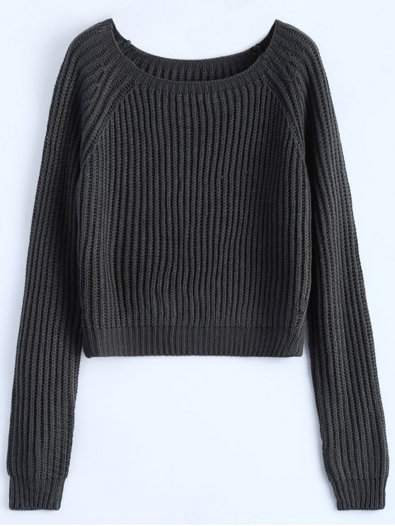 Raglan Sleeve Boxy Basic Sweater - DEEP GRAY ONE SIZE Mobile