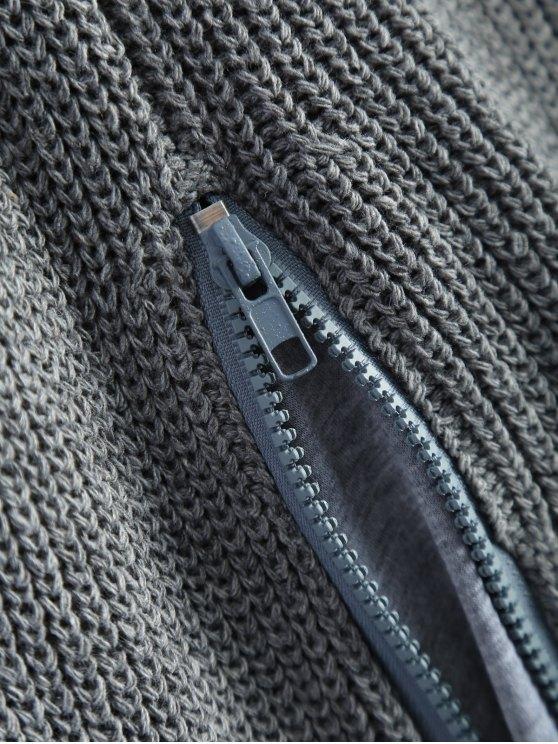 Zipped Split Hem Knit Poncho - GRAY ONE SIZE Mobile