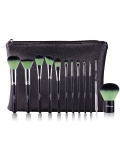 12 Pcs Makeup Brushes Kit - Green