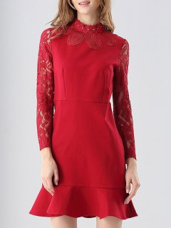 Sheer Lace Sleeve Shift Dress - Red S