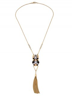 Geometric Fringed Rhinestone Sweater Chain - Golden