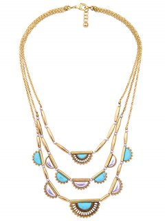 Geometric Artificial Turquoise Layered Necklace - Golden