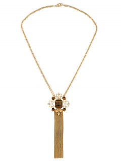 Faux Gem Fringed Sweater Chain - Golden