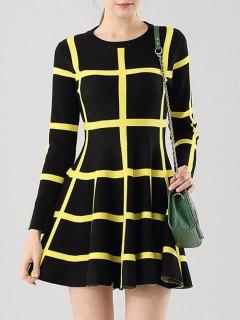Long Sleeve Flippy Sweater Dress - Yellow And Black S