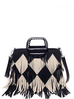 Color Blocking Multi Fringe Handbag - Black