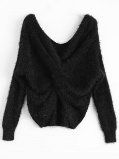 Fluffy Twisted Chenille Sweater - Black