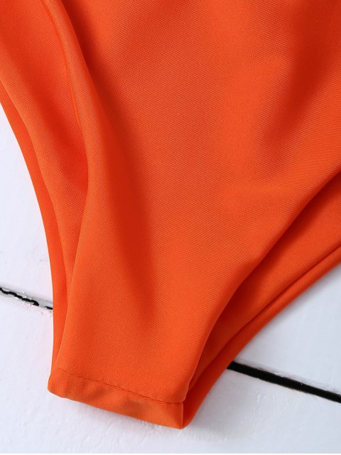 affordable Tasselled Halter Bikini Set - ORANGE XL Mobile
