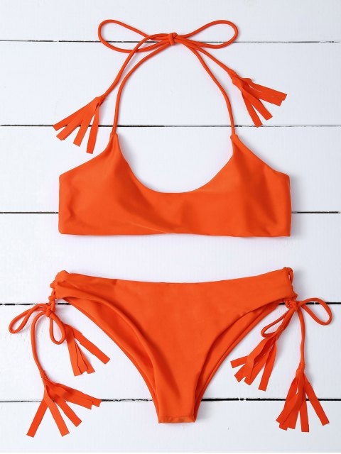 buy Tasselled Halter Bikini Set - ORANGE L Mobile