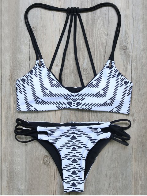 outfits Geometric Print Strappy Back Bikini - WHITE AND BLACK M Mobile