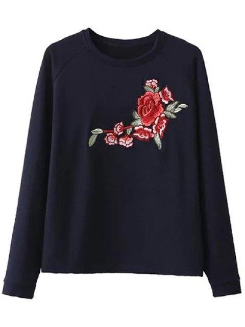 women Floral Applique Pullover Sweatshirt - CADETBLUE L Mobile