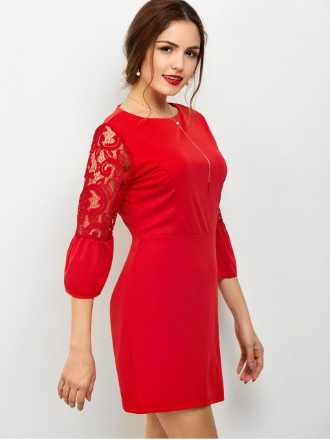 new Lace Panel Flare Sleeve Party Wear Dress For Women - RED S Mobile