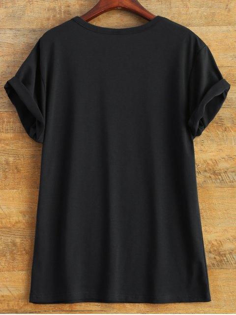 womens Short Sleeve Herbiuone Boyfriend T-Shirt - BLACK M Mobile