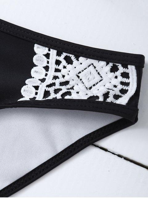buy Crochet Trim High Neck Bikini - BLACK S Mobile