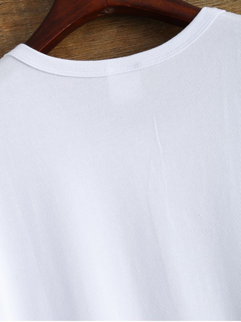 fancy Short Sleeve Text Print Tee - WHITE XL Mobile