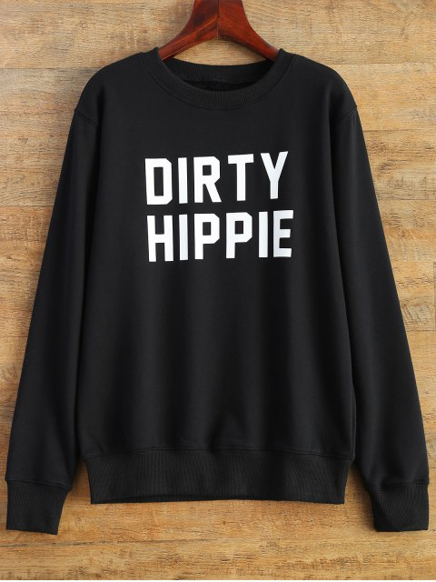 outfits Letter Dirty Hippie Print Sweatshirt - BLACK 2XL Mobile