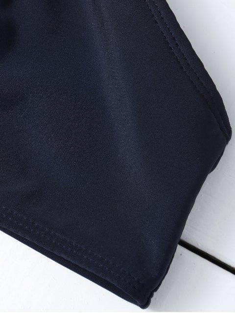 latest Mesh Panel High Neck Bikini - BLACK S Mobile