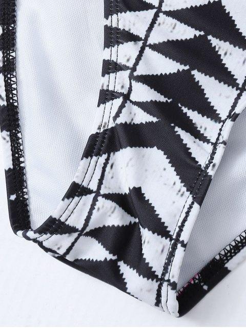 fashion Racerback High Neck Aztec Bikini - WHITE AND BLACK L Mobile