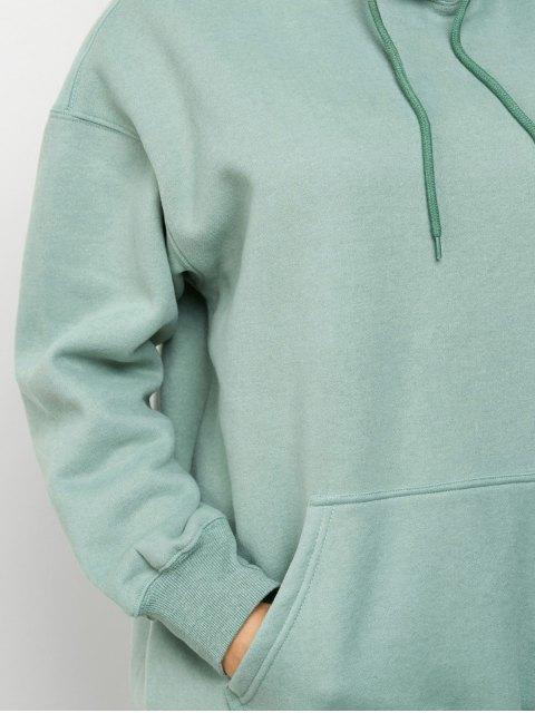 sale Kangaroo Pocket Fleece Lined Hoodie - LIGHT GREEN L Mobile