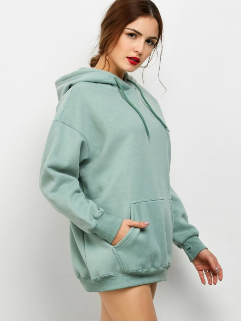 womens Kangaroo Pocket Fleece Lined Hoodie - LIGHT GREEN XS Mobile