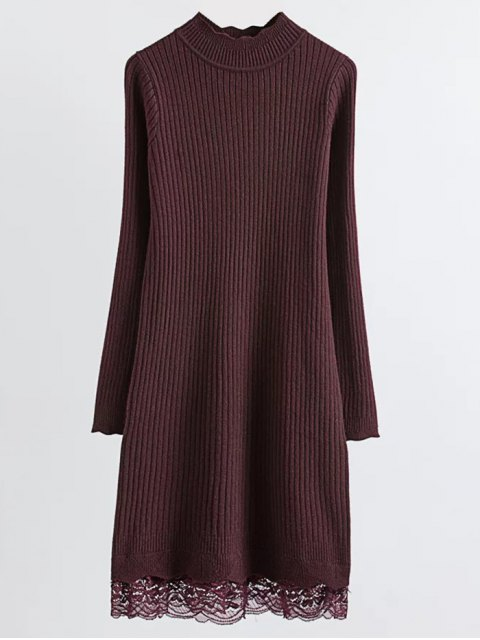 latest Lace Trim Ribbed Jumper Dress - CLARET ONE SIZE Mobile