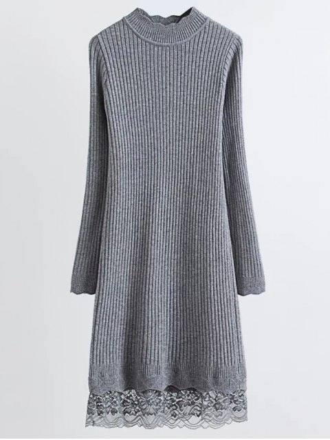 trendy Lace Trim Ribbed Jumper Dress - GRAY ONE SIZE Mobile