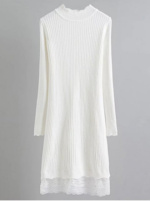 fashion Lace Trim Ribbed Jumper Dress - WHITE ONE SIZE Mobile