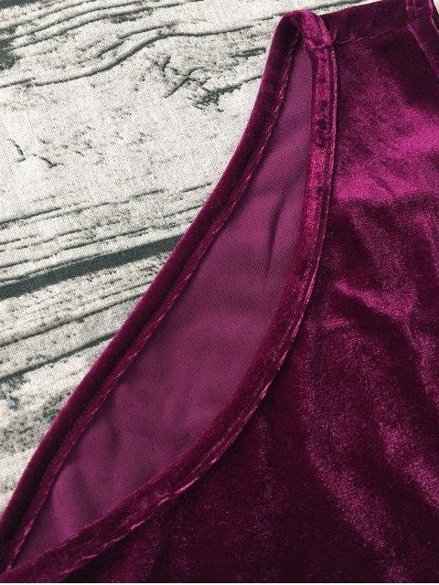unique Plunging Neck Slip Velvet Bodysuit - WINE RED XL Mobile