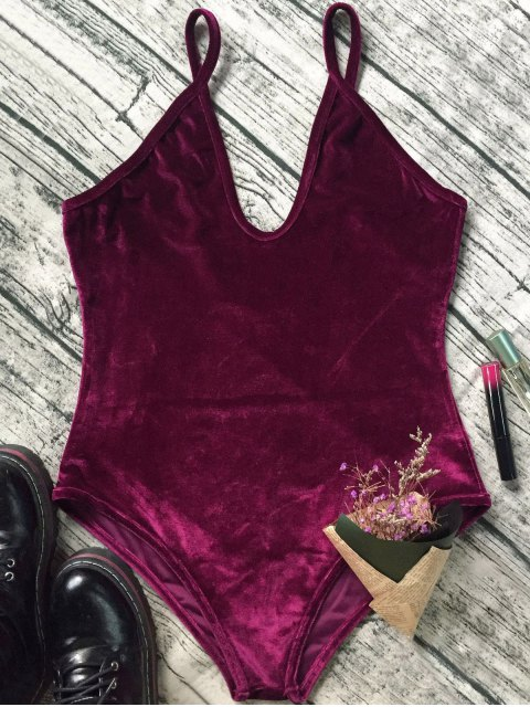 buy Plunging Neck Slip Velvet Bodysuit - WINE RED S Mobile