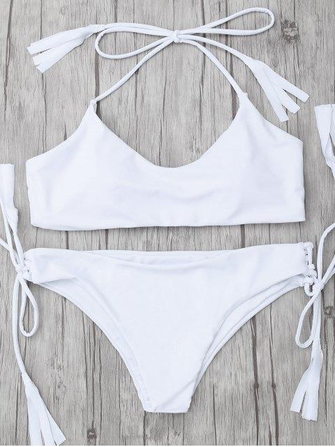 fancy Tasselled Halter Bikini Set - WHITE XL Mobile