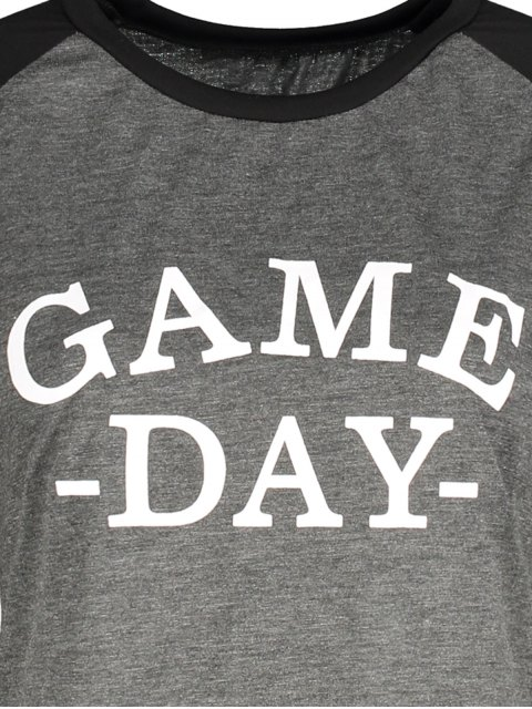 fashion Game Day Baseball Tee - BLACK AND GREY M Mobile