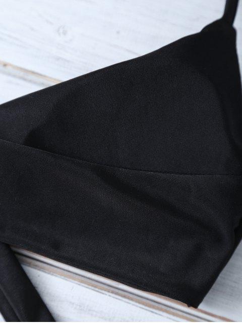 affordable Printed Halter Bowknot Bikini - BLACK S Mobile