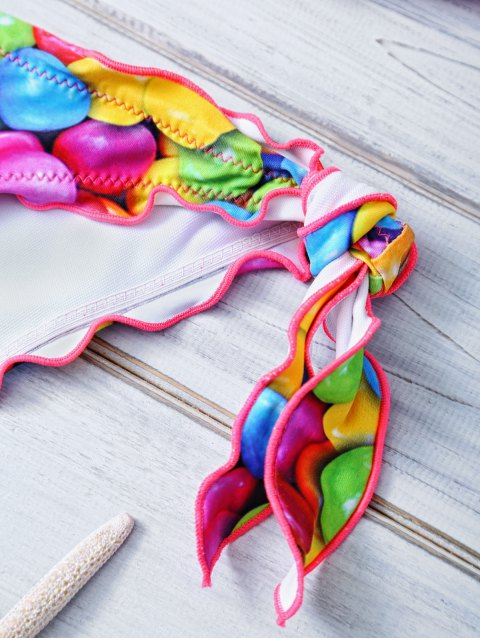 lady Halter Candy Print Frilled Bikini - COLORFUL S Mobile
