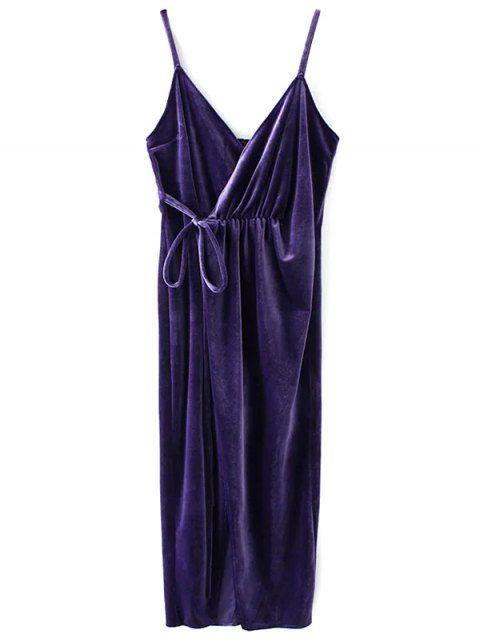 shop Slip Velvet Wrap Midi Dress - DEEP PURPLE M Mobile
