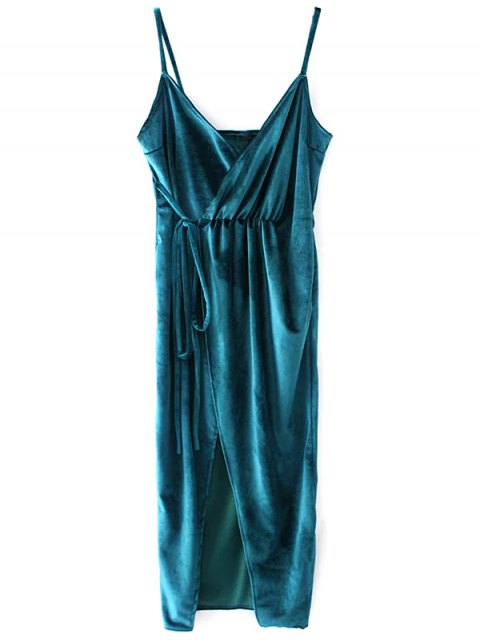 fashion Slip Velvet Wrap Midi Dress - LAKE BLUE S Mobile