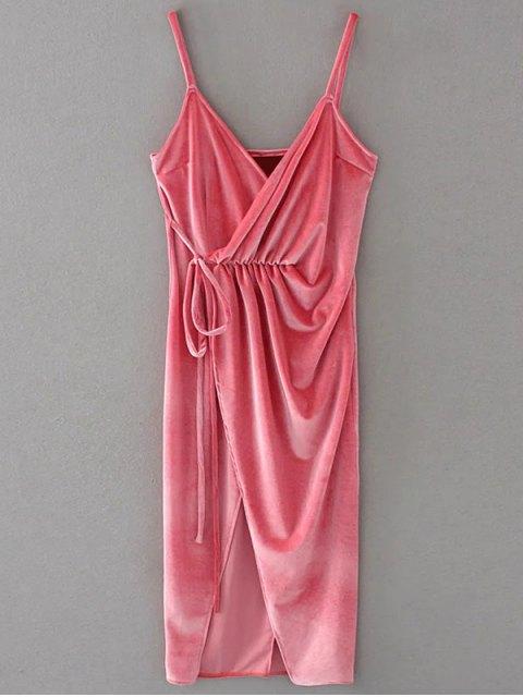 unique Slip Velvet Wrap Midi Dress - PAPAYA S Mobile